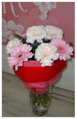K25 - Ružovo - biele karafiáty