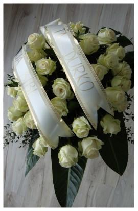 S1 - Smútočná kytica bielych ruží